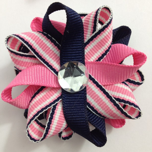 Navy Blue, Hot Pink Stripe Small Hair Bow Set - Handmade Small Hair Bow Set - Pink & Blue Hair Bow Set - 2.5 inch Hair Bow Set