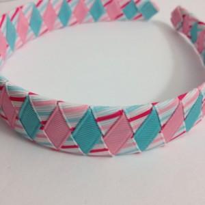 Pink, Blue Stripes Woven Headband - Handmade - Pink, Light Blue Stripe Grosgrain Ribbon Woven Braided Headband - 1 inch Braided Headband