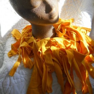 Yellow Gold Upcycled Tee Shirt Fringe Scarf - Great for Fall or Spring - Makes a Great Gift