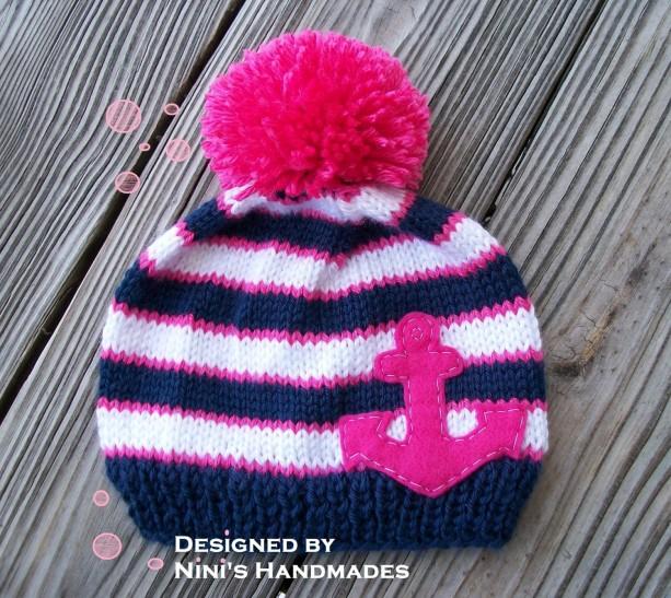 7f850a56 ... Knit Girls Nautical Beanie with Fuchsia ANCHOR, Made in the USA, kids  Beanie, ...