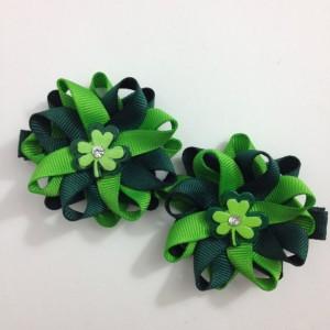 "Green Shamrock, Clover St. Patrick's Day 2.5"" Hair Bow Set - Handmade - No Slip Clip or Barrette"