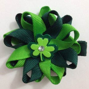 "Green Shamrock, Clover St. Patrick's Day 2.5"" Hair Bow Set - Handmade - No Slip Clip or Barrette"