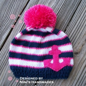 Knit Girls Nautical Beanie with Fuchsia  ANCHOR,  Made in the USA,  kids Beanie,  kids  hats, girl hats, navy and  White Hat, dark Pink  hat