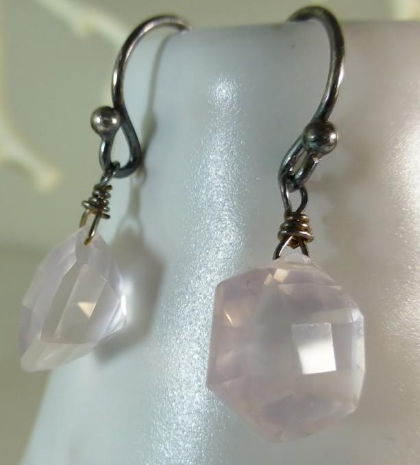 Rose Quartz  Sterling Silver Earrings,oxidized, fancy octagon faceted,dangle earrings,pink earrings, fancy cut, silver earrings,earrings