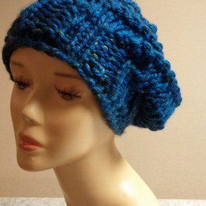 ONLY ONE Bright Blue Knit Slouchy Winter Hat