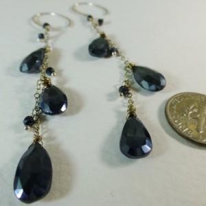 Black Mystic Coated Faceted Spinels Long Dangle Sterling Silver Earrings,long black earrings,black spinel earrings,teardrop earrings