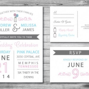 Modern Wedding Invitation and RSVP Postcard- Custom Design- Printable or Printed- Mason Jar, Two Flowers, Blue & Pink