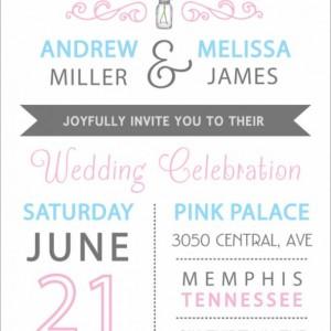 Modern Wedding Invitation and RSVP Postcard- Custom Design- Printable or Printed- Mason Jar, Two Flowers, Blue & Pink