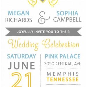 Same Sex Wedding Invitation and RSVP Postcard- Custom Design- Printable or Printed- Chicks, Heart, Blue, Yellow & Gray