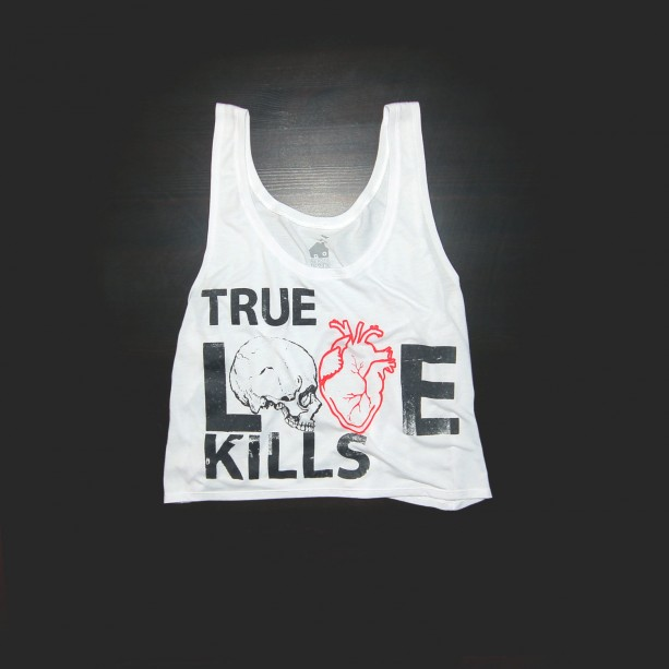 Urban Crop Top True Love Kills in White