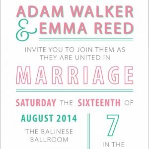 Fun and Modern Wedding Invitation and RSVP Postcard- Custom Design- Printable or Printed- Heart, Love- Pink, Teal & Grey - Invitation Set