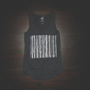 V Neck Tank Urban Tree Barcode in Black