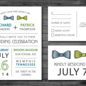 Same Sex Wedding Invitation and RSVP Postcard- Custom Design- Printable or Printed- Two Bow Ties, Blue, Green & Grey