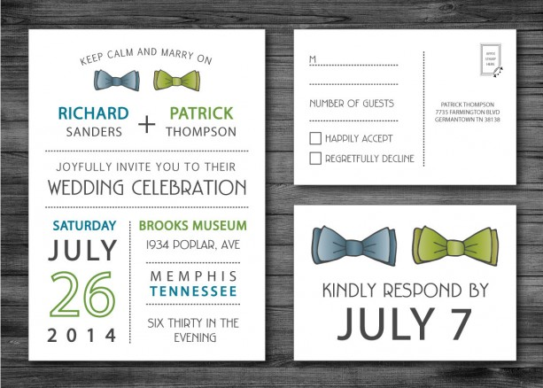 Same Sex Wedding Invitation and RSVP Postcard Custom Design Pri