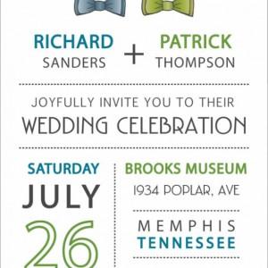 Same Sex Wedding Invitation and RSVP Postcard- Custom Design- Printable or Printed- Two Bow Ties, Blue, Green & Grey