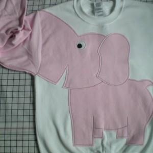 Elephant sweater, elephant sweatshirt, elephantTrunk sleeve shirt elephant jumper unisex medium white pink