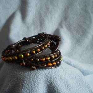 Black Iridescent Bead Wrap Bracelet