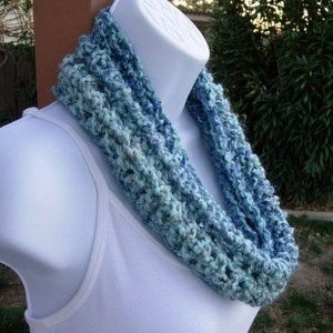 SUMMER COWL SCARF, Light Blue, Medium Blue, & Gray Grey, Small Short Infinity Loop, Crochet Knit, Soft Neck Warmer..Ready to Ship in 2 Days