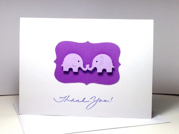 Twin Elephant Baby Shower Thank You Cards Twin Elephants Twins