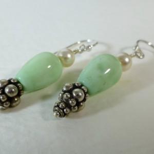 Mint green jade & Swarovski pearl dangle earrings,jade earrings,green earrings,drop earrings,green and white,cute earrings,silver earrings