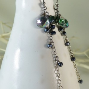 Green mystic topaz, chrome diopside and black pyrite long dangle earrings,green and black, green and silver,drop earrings,sparkly earrings