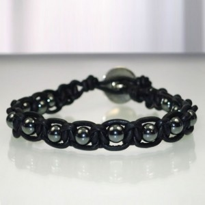 Leather Macrame Bracelet with Hematite Beads