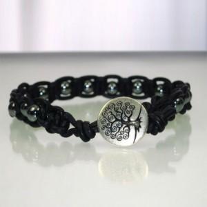 Leather Macrame Bracelet with Hematite Beads