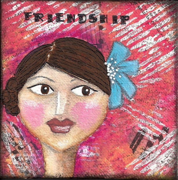 "TINY TREASURE: Mixed Media Mini Acrylic Mixed Media Painting on Small Canvas with the word ""Friendship"". Birthday Gift or Stocking Stuffer!"