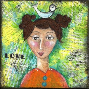 Love Girl Mixed Media Mini Painting