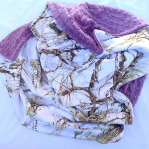 Baby Blanket, True Timber Camouflage Minky Baby Blanket, MC2 Snow With Purple Dot Minky For Your Baby Girl