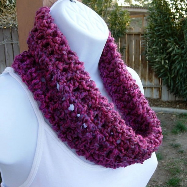 SUMMER COWL SCARF Magenta Pink, Purple, Dark Blue, Small Short Infinity Loop, Crochet Knit Lightweight Neck Warmer..Ready to Ship in 2 Days