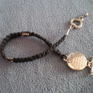 Black Macrame Bracelet with Love Charm