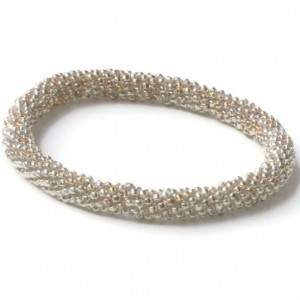 Silver Tone Handwoven Roll On Bracelet