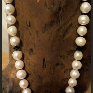 Premium Handknotted Big White Pearl and Black Crystal Necklace- Classic Audrey Hepburn Inspired