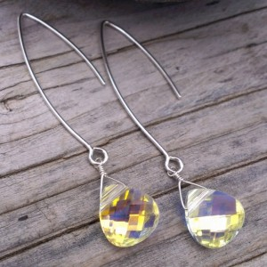"Swarovski Briolette on Long, Handforged ""V"" Hook Earwires - Sterling Silver"
