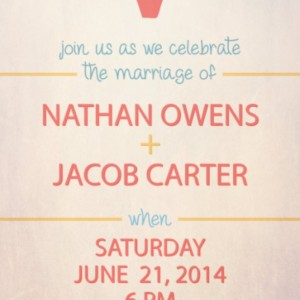 Same Sex Wedding Invitation and RSVP Card- Custom Design- Printable or Printed- Balloon- Rainbow Colored- Gay Pride- Two Men, Two Women
