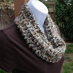 SUMMER COWL SCARF Cream White, Grey Gray, Tan Brown Small Short Infinity Loop, Crochet Knit Soft Lightweight Neck Warmer..Ready to Ship in 2 Days