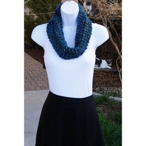SUMMER COWL SCARF Dark Teal Blue Green Red, Small Short Infinity Loop, Crochet Knit, Soft Lightweight Acrylic Neck Warmer..Ready to Ship in 2 Days