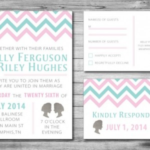 Same Sex Wedding Invitation and RSVP Card- Custom Design- Printable or Printed- Cameo- Two Women- Chevron- Blue, Pink & Gray