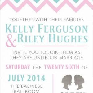 Same Sex Wedding Invitation and RSVP Card- Custom Design- Printable or Printed- Cameo- Two Women- Chevron- Blue, Pink & Gray