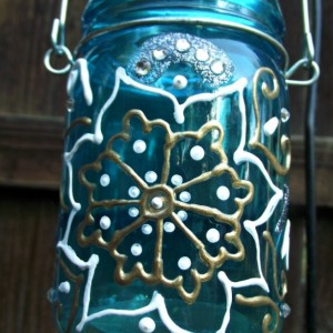 Mason Jar Candle Holder with Henna Design