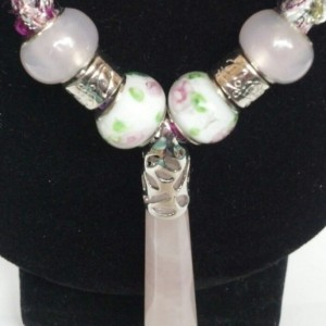 Genuine rose quartz pendant, gemstone jewelry, knitted necklace, fashion jewelry, New Age jewelry