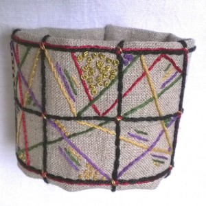 Hand Embroidered Cuff in Jewel tones with Black and Gold accents, Artistic Geometric Design