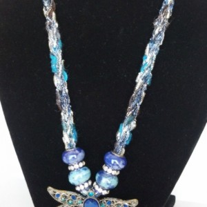 Dragonfly pendant, fashion jewelry, handknitted necklace, statement necklace, unique jewelry