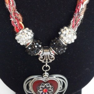 Double heart pendant, Valentine's gift, knitted necklace, romantic jewelry, soulmate jewelry, fashion jewelry, unique gift