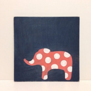Hand Painted Girls Wall Art on Wood, Navy Blue and Coral, Elephant Decor, Polka Dots Wall Art, Elephant Nursery Art, Rustic Decor