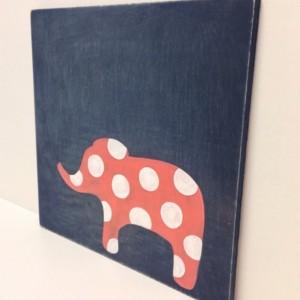 Hand Painted Girls Wall Art on Wood, Navy Blue and Coral, Elephant Decor, Polka Dots Wall Art, Elephant Nursery Art, Rustic Decor