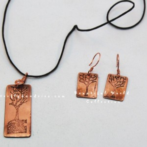 Sleeping Tree Pendant and Earring Set- Beautiful World Collection - Available in Copper or Brass