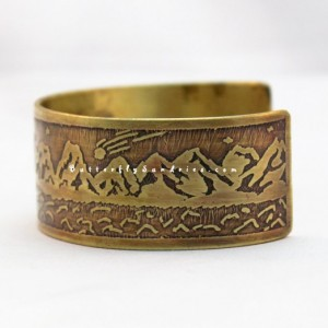 Starry Night Mountain Cuff - Beautiful World Collection - Available in Brass or Copper