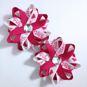 """Big Sister Pink & White 2.5"""" Hair Bows - Handmade - Made To Order - No Slip Clip or Barrette"""